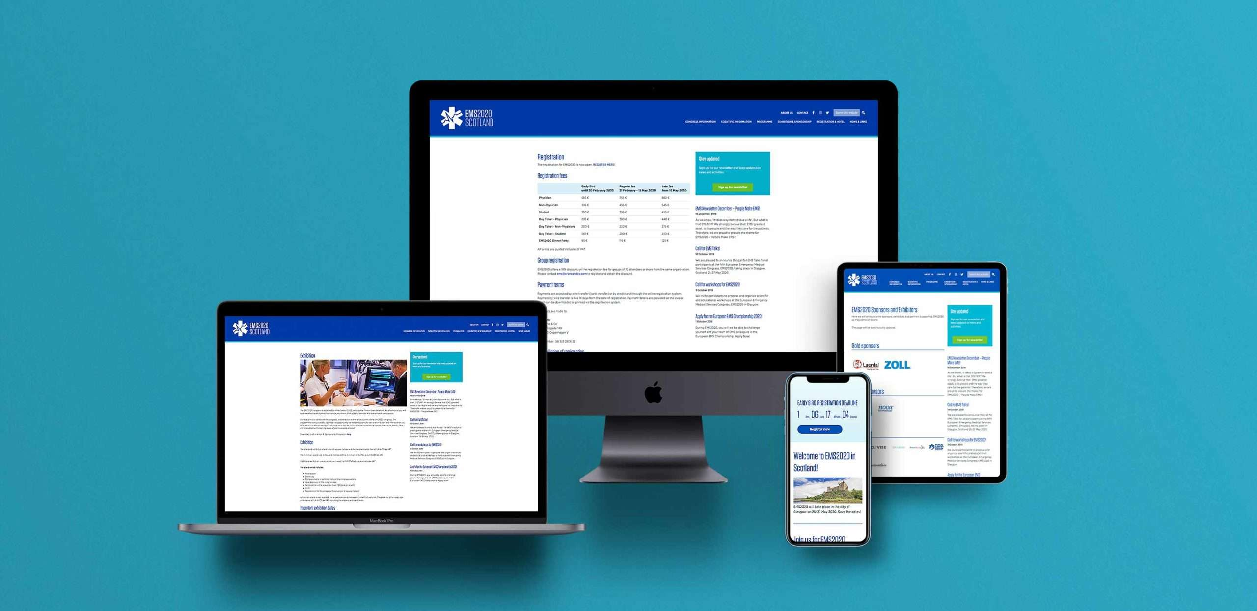 EMS Europe website on various Apple devices