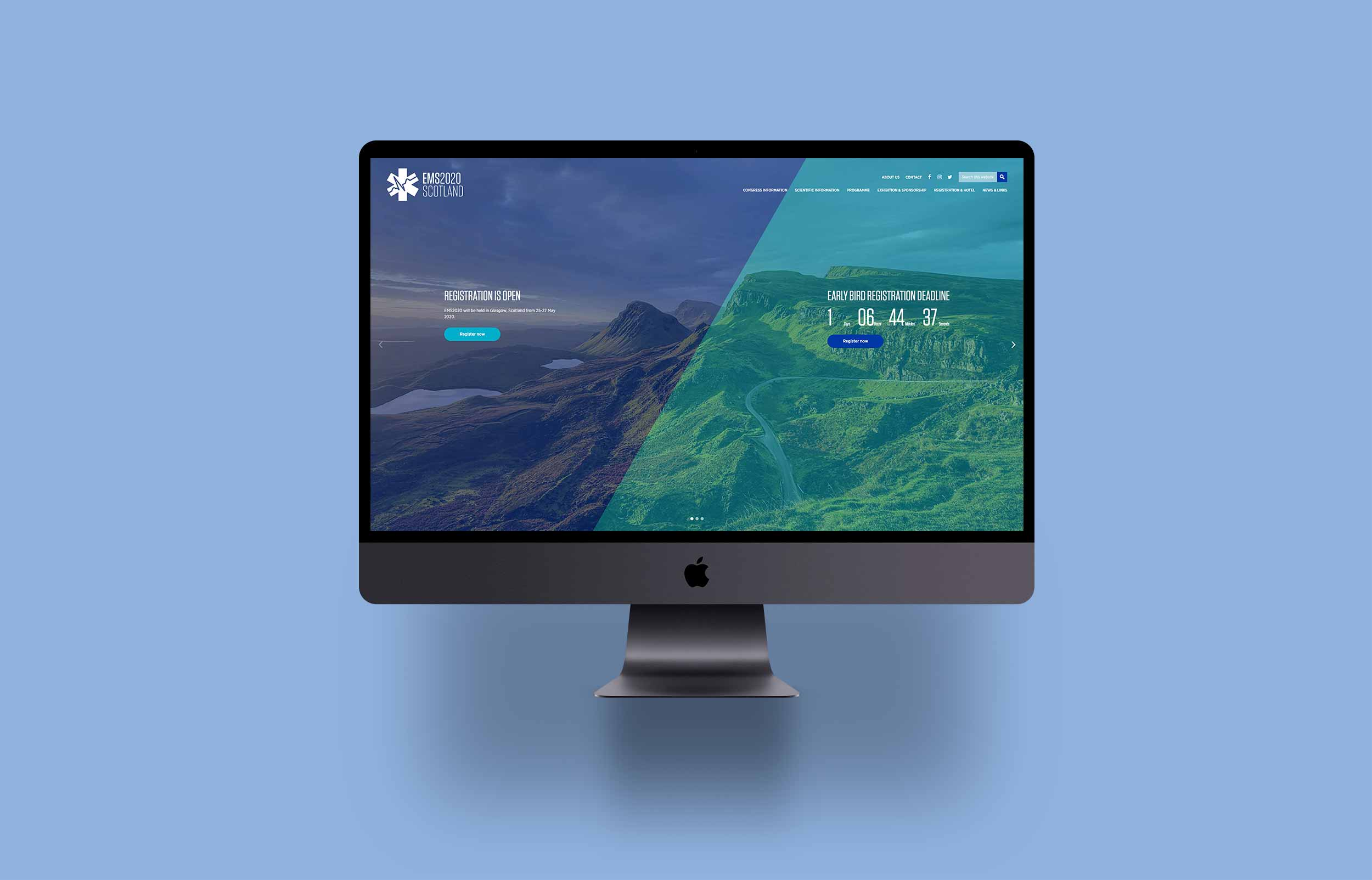 EMS Europe website on iMac