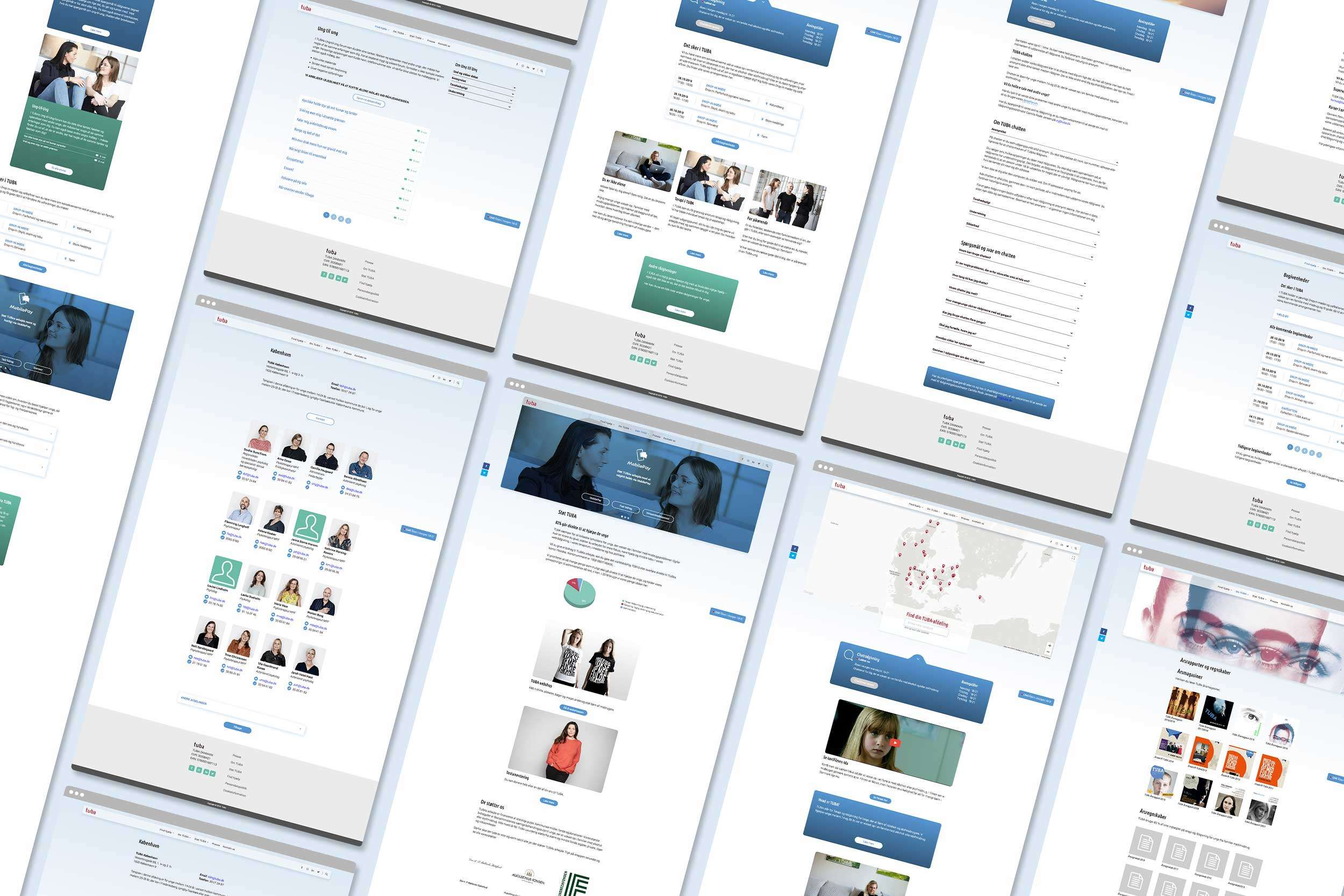 TUBA Danmark website UI