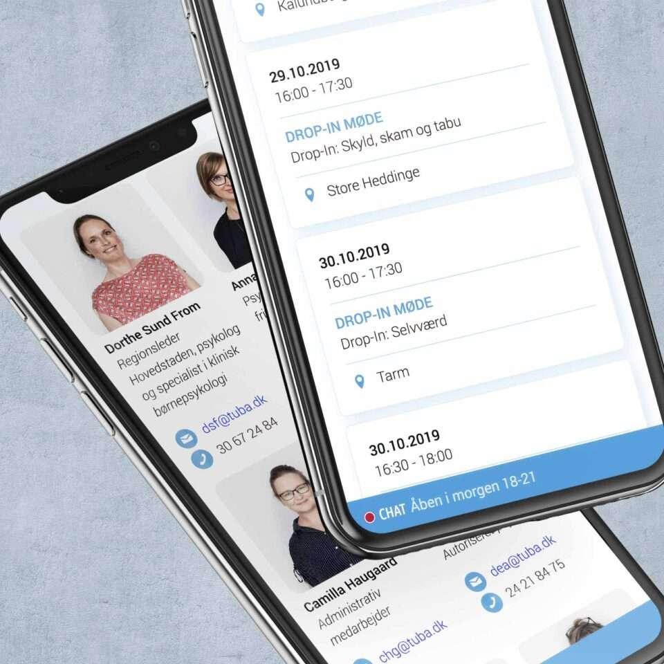 TUBA Danmark website on two iPhoneX