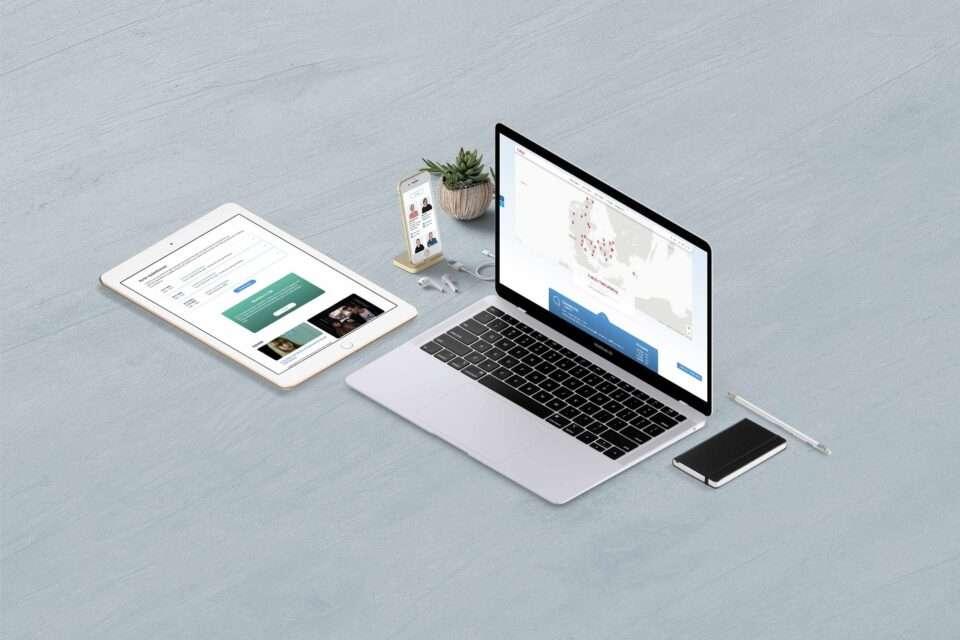 TUBA Danmark website on a Macbook, iPad pro and iPhone