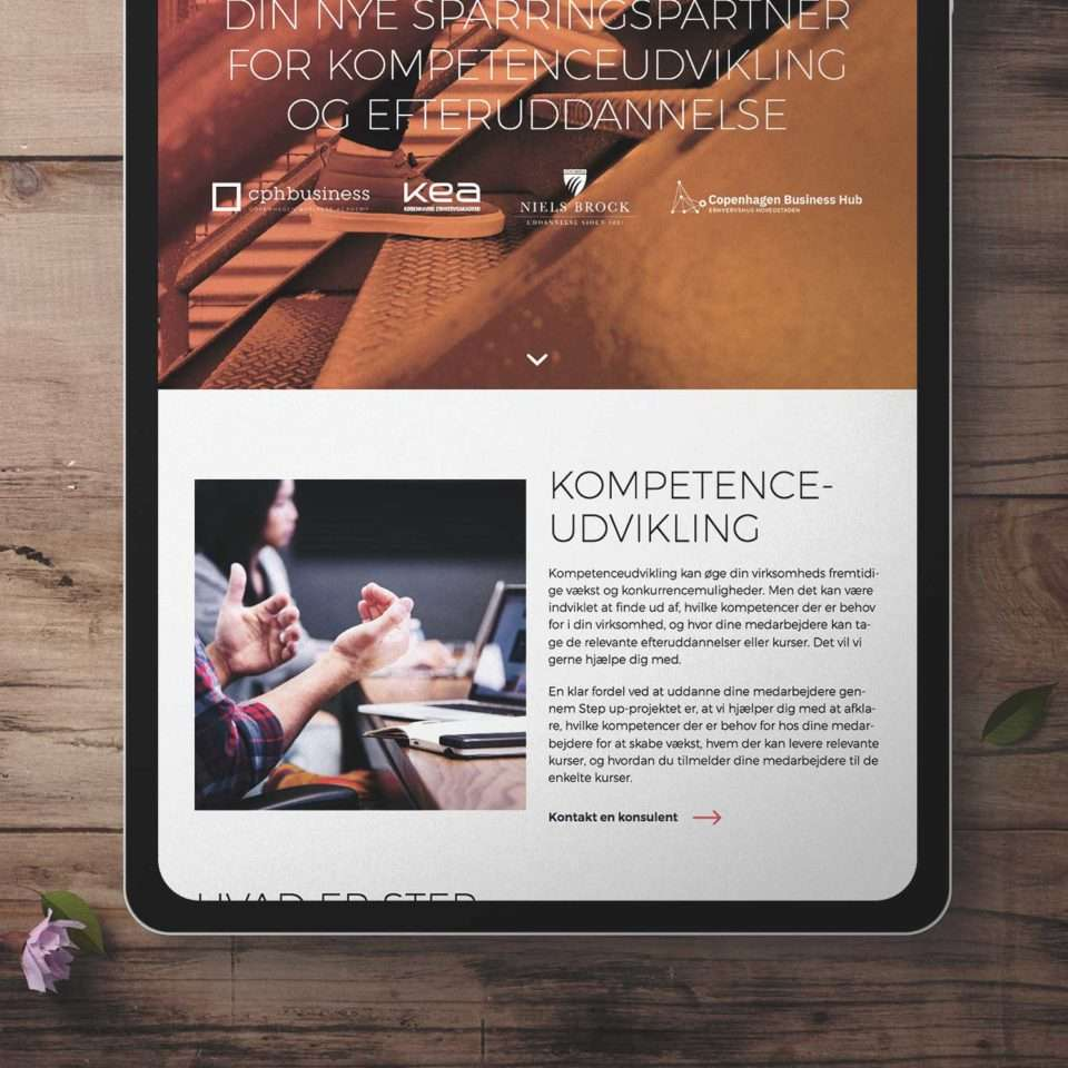 Step Up website on an iPad Pro.